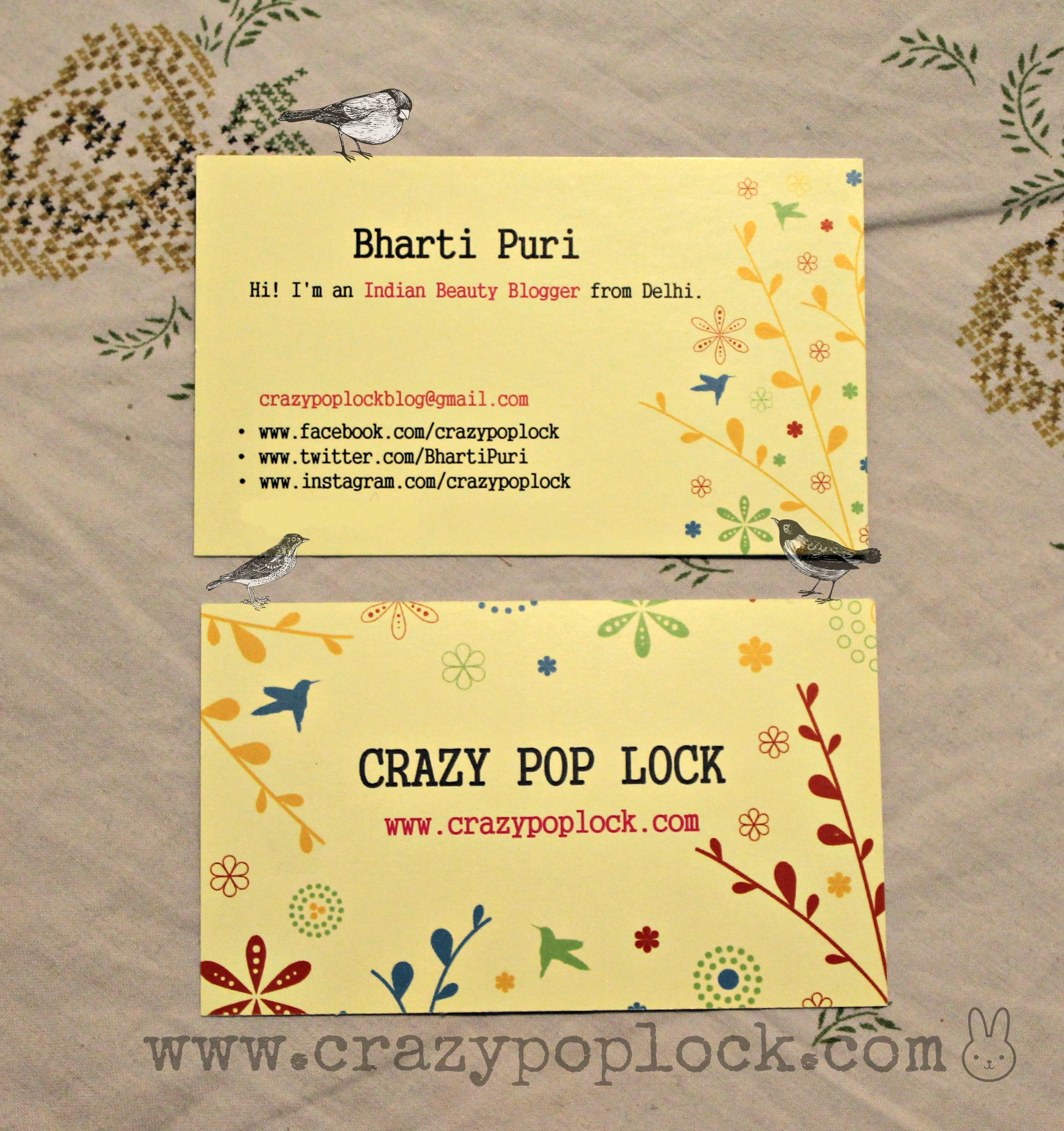 New Business Cards! | B h a r t i P u r i |B h a r t i P u r i |